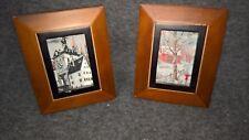 Wood Framed Tapestry Pictures Set of Two Vintage Alpine Village Homes