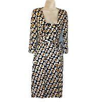 Diane von Furstenburg Women's Size 8 Silk Wrap Dress Geometric Pattern Buttons