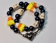 New listing Skull and Black Pearl Halloween Collar, Breakaway Magnetic Clasp Cat or Dog