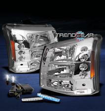 2003-2006 SILVERADO AVALANCHE LED CHROME CRYSTAL HEAD LIGHT LAMP+BLUE DRL+6K HID
