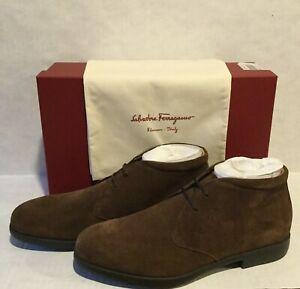 NEW Salvatore Ferragamo Men's Sz 8.5 EE Brown Boero BUC Suede Calf Ankle Boots