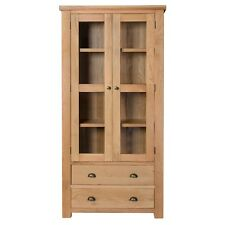 Ashley Oak Glass Display Cabinet / Solid Hardwood / Display Cupboard / Brand New