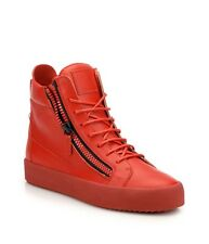 NIB Giuseppe Zanotti Red Leather Double Zip High-Top Sneakers Size 42/9