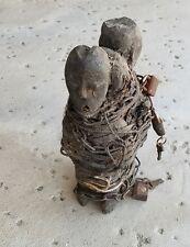 "Unusual EWE TOGO twin statue wrapped chained cords padlocks multiple keys 9x6x6"""