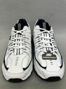 Skechers Mens After Burn Memory Fit Reprint Sneakers 50127 White/Navy #MB