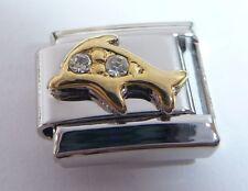GOLD DOLPHIN Italian Charm CLEAR GEMS April 9mm fits Classic Starter Bracelets