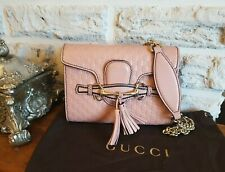 Gucci Blush Dusky Pink Guccissima Mini Emily Chain Tassel Crossbody Leather Bag