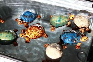 2er Set Schwimmende Teichdeko aus Keramik Schildkröten Kinderstube