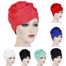 India Style Women Turban Hat Flower Bead Muslim Scarf Hijab Chemo Caps Head Wrap