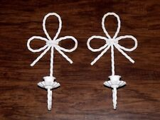 2 Vtg Homco Cottage Chic White Metal Braid Rope Bow Wall Candle Sconces Pair Set