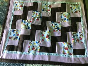 Pink and Brown 33x40 Hand Made Crib Blanket Monkeys