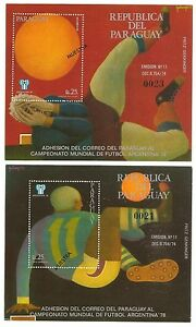 Paraguay 1977 #1786-7 1978 World Cup Soccer SS MNH ovpt MUESTRA SPECIMEN (2)