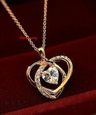 18k Rose Gold Filled Love Heart Bridal Necklace Made With Swarovski Crystal N161