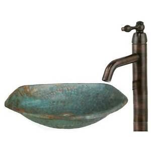 Handmade Green Patina Oxidized Small Trough Copper Vessel Bathroom Sink Basin