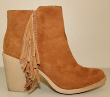 DIVIDED By H&M Womens Boots Size 6 / 37 Heeled Zip Brown Faux Suede W/Fringe
