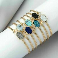 Gold Plated Dainty Crystal Chromatic Color Bracelet Bangle Jewelry Women Cuff