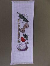 Completed Cross Stitch Bookmark - Recipe