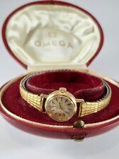 Omega, Vintage, Solid 18k Gold case, Omega Red Leather Oyster box - working