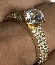 14k solid Ring real Yellow Gold Round manmade Diamond Engagement wedding 7 6 8