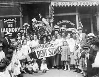 A Crowd Stages a Rent Strike in Harlem, New York City - 1919 Quality Photo