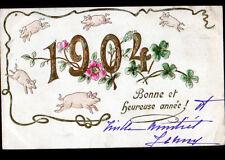 COCHON & FLEURS TREFLE + MIOSOTIS Gaufrée / BONNE ANNEE en 1904