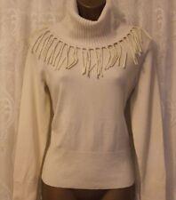 Karen Millen Fringe Roll Neck Knit Ivory Wool Jumper Top Sweater L 14 42