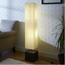 """Rice Paper Floor Lamp Dark Wood Finish On/Off In-Line Step Switch 58"""" Tall White"""