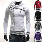 Trench Mens Fashion Oblique Casual Hooded Coat Zipper Slim Fit Hoodie Jacket Top