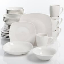 Dinnerware Place Settings 30 Piece Set Serving Sets Service 6 Porcelain White
