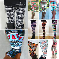 Womens Christmas Leggings Elk Snowflake Printed Trousers Stretch Slim Casual