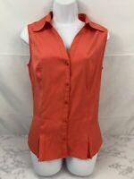 CATO Sleeveless Button Down Blouse Womens S Peach Collared Top Pleats U