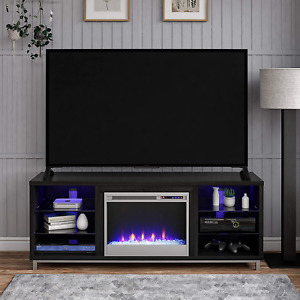 Electric Fireplace TV Stand 70 Inch Media Entertainment Center LED Lights Heater