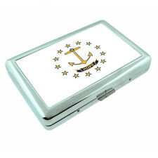 Rhode Island State Flag D1 Silver Cigarette Case / Metal Wallet Card Money Hold