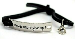 Bracelet Motivational Quotes Leather Silver Stainless Steel Bangle Jewelry Gift