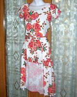2-HIP WRAPPER Size 14 Stretchy 2 Piece Floral Top & Skirt w/ Shorts Rompers