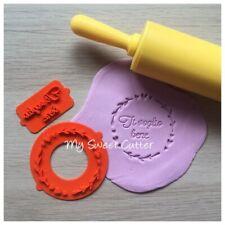 Timbro Floreale Cornice Cuori Embossing Impronta Cake Design Cookie Cutter