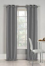 "Two (2) Silver Gray Window Curtain Panels: Faux Silk, Silver Grommets, 76"" x 84"""