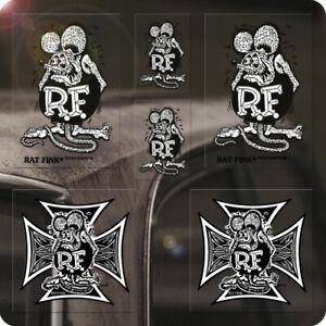 6x Stück Rat Fink Iron Cross Sticker Ed Roth Aufkleber Autocollante Hot Rod blk