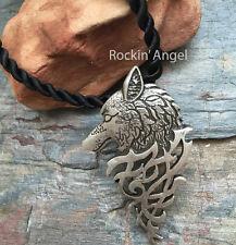 Antiguo Colgante Collar De Plata PLT eslavo Wolf, señoras para Hombre Regalo Viking Norse