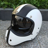 Vintage Motorcycle Helmet Full Face Deluxe Leather Cruiser Street Bike Scooter