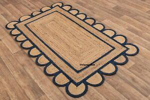 Scallop Rugs For Living Natural braided jute bohemian Hemp carpet Home Decor rug