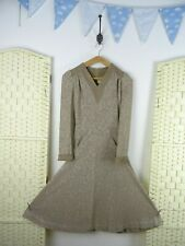 VINTAGE Japanese brown lined lacy festival/summer/boho/fit & flare dress XXS