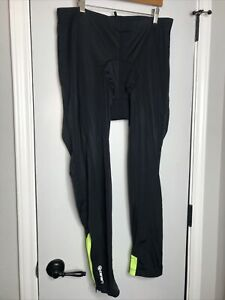 Canari Padded Cyclewear Pants Black SPIRAL GREEN Cycling Tights XXL