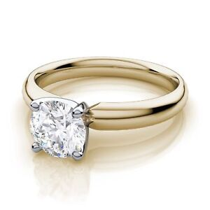 2CT Four Prong Comfort Fit Round Brilliant Engagement Ring 9K Yellow Gold Over
