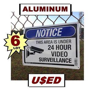 6 USED Warning Security Surveillance Cameras 10x14 Aluminum METAL Signs