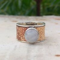 Rainbow Moonstone 925 Sterling Silver Spinner Ring Meditation Jewelry A94