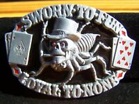 """Great American Products Skull Spider Cards Metal Belt Buckle 3.5"""""""