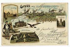 AK Wilhelmshaven Schleuse Hotel Burg Hohenzollern Flotte 1899
