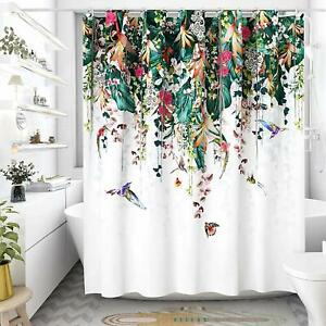 Weeping Floral Vine Birds Shabby Chic Boho Waterproof Fabric Shower Curtain