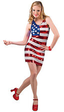 LADIES SEXY USA FLAG COSTUME STARS N STRIPES SEQUIN FANCY DRESS OUTFIT 10-12 NEW